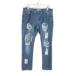 Boohoo size 10 Destroyed Medium Wash Blue Jeans